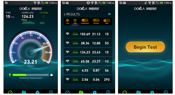 Speed test apps for device